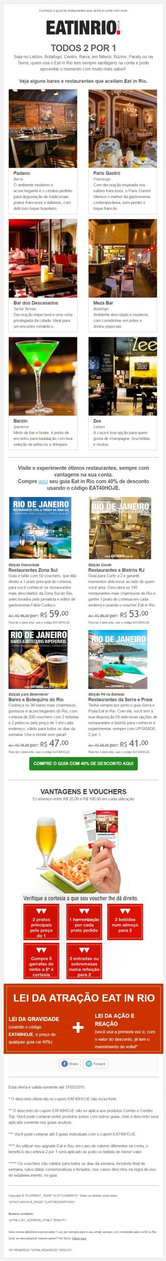 Email Marketing Eat in Rio - Design Thomaz Dantas